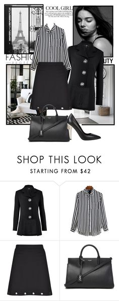 """Black, white and Stripes"" by sophia561 ❤ liked on Polyvore featuring Versus, Limited Edition and Yves Saint Laurent"