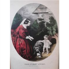 """This framed Currier & Ives coloured lithograph, """"The First Step,"""" was produced between 1857-1907. The famed New York based printers produced a number of hand-coloured lithographs celebrating American life. Images include domestic scenes (like the one featured here of a mother witnessing her child's first step), farm, fishing, hunting, city life, and rural scenes. They were known in their day as """"publishers of cheap and popular prints"""". Today their images are popular among collectors for…"""