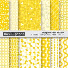 Digital Paper Yellow Geometric Polkadots Flowers by MochiPaperShop, $3.00