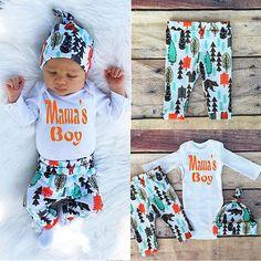 3pcs Newborn Baby Boys Girls Romper Jumpsuit Bodysuit+Pants Clothes Outfits Set