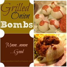 Grilled Onion Bombs ♦ This onion bombs grilling recipe is so yummy! The meat is super juicy and the onions are very sweet. Grilling Recipes, Beef Recipes, Cooking Recipes, Recipies, Summer Recipes, Great Recipes, Favorite Recipes, Onion Bombs, Bbq