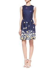 Sleeveless Floral & Butterfly Fit-and-Flare Dress, Size: 12, Navy Multi - ERIN erin fetherston