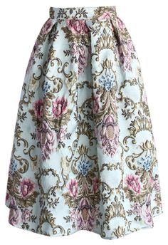 My Fair Lady Baroque Embroidery Midi Skirt - Skirt - Bottoms - Retro, Indie and…