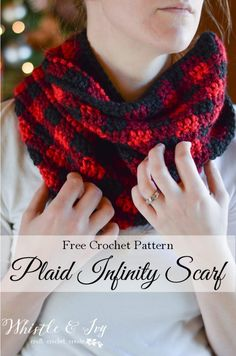 Crochet Plaid Infinity Scarf and links to 3 other plaid projects (two hats and fingerless gloves)