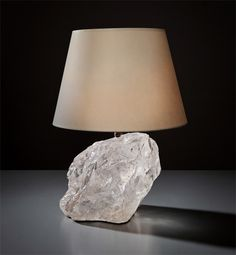 "Jean-Michel Frank,  circa 1925 Rock crystal. leather, paper shade BAse - 7-1/2""  Produced by Chanaux & Pelletier, Paris Phillips New York Auction  13 December 2018"