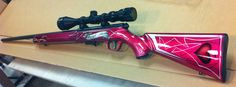custom paint, pink gun, Colored Gun Stock  each of us girls has their own special colors in a rifle. If one is going to shoot one might as well have a firearm in the color(s) one likes...daddy & now our husbands make sure we know how to shoot, clean & store them properly...