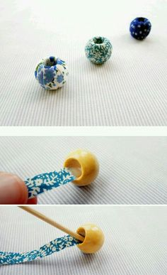 Fabric Covered Beads - tutorial, looks frustrating (my lack of patience!This tutorial will show you how to make beautiful little fabric covered beads. I wrote a fabric necklace tutorial last year which has proved very popular and thDiy thread wrapped Jewelry Crafts, Jewelry Art, Beaded Jewelry, Jewelry Design, Jewellery, Fabric Beads, Paper Beads, Textile Jewelry, Fabric Jewelry