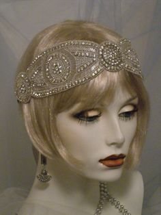 Your place to buy and sell all things handmade Flapper Headpiece, Gatsby Headband, Rhinestone Headband, Headdress, Gatsby Style, Flapper Style, Vintage Dresses, Vintage Outfits, Vintage Fashion