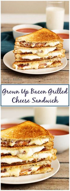 Our grown up bacon grilled cheese sandwich takes your old fashioned grilled cheese and dresses it up with bacon, brie, muenster, and mozzarella cheeses. #grilledcheese #sandwich #cheese #bacon via @berlyskitchen