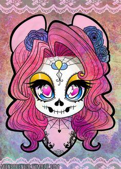 My Little Pony Friendship is Magic Photo: Sugar skull Pinkie Mlp My Little Pony, My Little Pony Friendship, My Little Pony Tattoo, Disney Drawings, Cartoon Drawings, Hair Drawings, Drawing Disney, Sugar Tattoo, Cartoon Panda