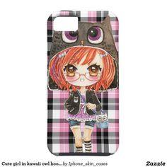 Cute girl in kawaii owl hoodie on pink plaid iPhone 5 covers