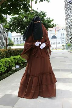Pretty Muslimah in Brown Abaya with Matching Khimar, White Lace Gloves and Niqab