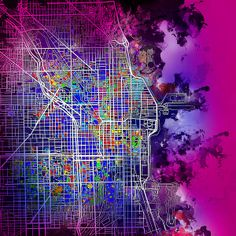 Chicago Map Purple Version by MB Art factory #chicagomap