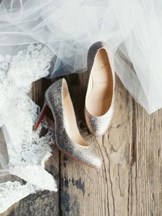 Silver sparkly Louboutins: http://www.stylemepretty.com/little-black-book-blog/2014/12/16/rustic-chic-wedding-at-riverside-on-the-potomac/ | Photography: Laura Gordon - http://www.lauragordonphotography.com/