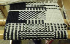 """Rug weaving - could be applicable to tapestry.  """"t is amazing that all of these weave designs are created on only 2 harnesses with plain weave (tabby) structure.  The variations are almost endless.  Four basic patterns are horizontal stripes, crossways stripes, aligned dots and staggered dots.  But it's all in """"how"""" you combine and put together those four patterns that allows you to make such interesting rug samples!"""""""