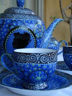 Blue Tea Pot, saucer and cup Coffee Cups, Tea Cups, Coffee Set, Cuppa Tea, Blue And White China, Blue China, Teapots And Cups, My Cup Of Tea, Tea Service