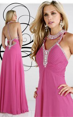 Fuchsia A-line Floor-length Halter Dress [Dresses 9364] - $206.00 :