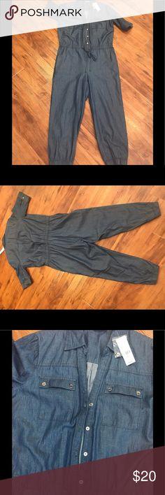 Light weight denim jumpsuit 💙💙 Cotton button down also has waist draw sting New York & Company Pants Capris