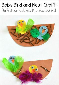 Spring Craft for Kids: Nest and Baby Bird Craft- These cute, paper chicks are perfect for toddlers and preschool! ~ BuggyandBuddy.com #ArtsandCraftsProjects