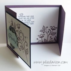 Stampin' Up! Flourishing Phrases Sympathy Gate Fold Card for Joy Fold Card, Fun Fold Cards, 3d Cards, Card Making Templates, Stamping Up Cards, Get Well Cards, Card Tutorials, Sympathy Cards, Flower Cards