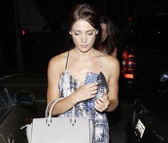 Ashley Greene carries a light grey MICHAEL Michael Kors Selma Tote Bag