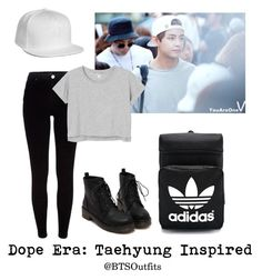 """Dope Era: Taehyung Inspired"" by btsoutfits ❤ liked on Polyvore featuring River Island, HUF, Monki and adidas"
