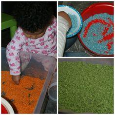 Farbowany ryż - sensory play