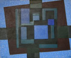 WERNER DREWES,   1899-1985,  In the Blue Square,  Oil on canvas 1972,  32 x 40 inches