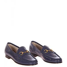 Gucci Blue Patent Leather 1953 Horsebit Loafers from www.profilefashion.com