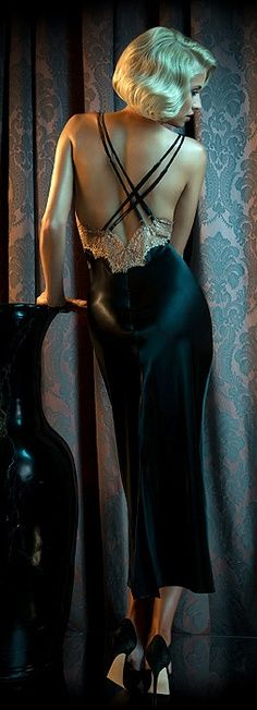 Black Satin Nightgown and Black high Heels