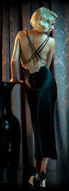 Black Satin Nightgown