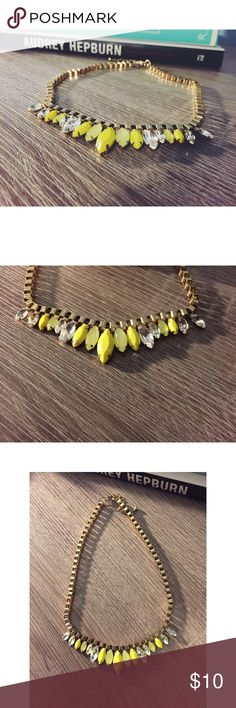 Necklace Super cute necklace. Gold chain with yellow (check last photo for color) and crystal jewels. ASOS Jewelry Necklaces