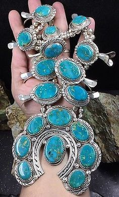 HUGE-Sterling-Silver-Squash-Blossom-Necklace-With-Beautiful-Turquoise-375-9-gr