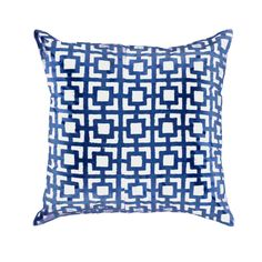Net Navy Block Print Medium Pillow - Bandhini USA