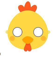 tareitas: ANTIFAZ DE POLLO Printable Animal Masks, Farm Animal Birthday, Bird Art, Farm Animals, Tweety, Coloring Books, Pikachu, Printables, Halloween