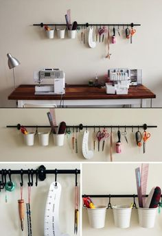 Need this in my home studio to save space! but would work fab in the new studio too. Ikea Playroom, Ikea Craft Room, Craft Room Storage, Craft Rooms, Ikea Wall, Play Rooms, Sewing Room Design, Craft Room Design, Sewing Studio