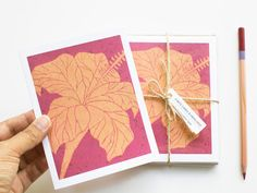 Note Card Set - Hibiscus Floral Cards- Set of 6 - $22 - by TheImaginationSpot