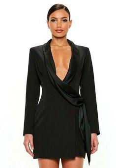 0d33e8d56dd4f2 Peace  amp  Love Black Draped Wrap Blazer Bodycon Mini Tuxedo Dress Jacket  6  amp