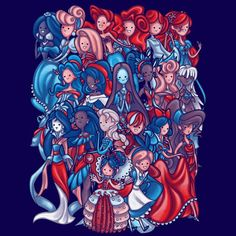 """A mashup of Disney princesses. Art by Penelope Barbalios aka Poofette. """"Princess Time"""" features Disney princesses in the Adventure Tim style. Disney Princess Art, Disney Princesses, Time T, Disney Tees, Disney Movies, Cool T Shirts, Fashion Art, Nerdy, Spiderman"""