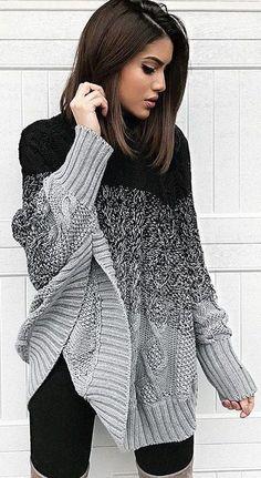 Womens Fashion: Ellie Poncho Sweater - Black/Grey or Black/White Poncho Pullover, Poncho Sweater, Gray Cardigan, Loose Knit Sweaters, Comfy Sweater, Look Fashion, Fashion Outfits, Womens Fashion, Fashion Black