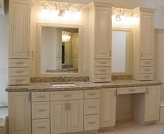 Bathroom Cabinets and makeup area | Urbandale Bathroom - Grand Homes & Renovations