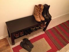 Lack TV unit used as a shoe bench- might be handy- could use the top as a seat?