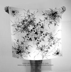 ▼▽ silk square scarf ▿ memento mori skulls ▽▼ ▹original design by .délicate.distorsion.◃ [www.delicatedistorsion.com]   ▶▶▶www.etsy.com/shop/delicatedistorsion◀◀◀