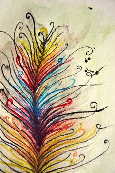 Colorful Feather Watercolor Drawing/Painting by CASEYCREATIVE, $35.00