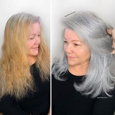 Stylist shows gorgeousness of grey hair instead of covering it up Grey Hair Transformation, Gray Hair Highlights, Natural Hair Styles, Short Hair Styles, Transition To Gray Hair, Silver Hair, New Hair, Hair Inspiration, Hair Cuts