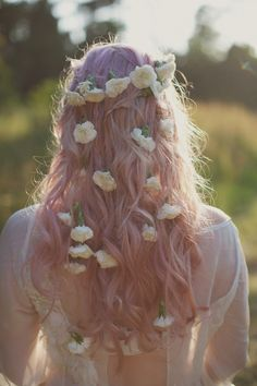 Lovely pastel locks aren't complete without a flower crown and flowy dress. #manicpanic http://www.manicpanic.biz/