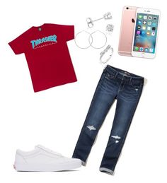 """""""💗"""" by dreairrational ❤ liked on Polyvore featuring Hollister Co., Amanda Rose Collection, Pandora and Vans"""