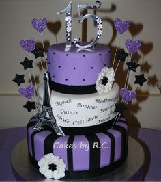 quinceanera themes | paris theme cake paris theme 15th cake with french words