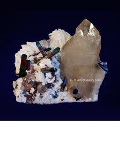 Bi-Color Tourmaline On Quartz With Clevelandite And Lepidolite