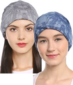 8267fc82d30 Women s Soft Breathable 3-Way Solid Knit Chemo Beanie Turban Headband  Nightcap - Sapphire+gray - C3182G0I8UD